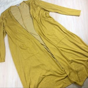 LuLaRoe Yellow Sarah Duster Open Cardigan XL